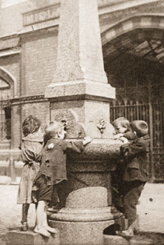 Many of the civic amenities that are found in town centres today, were built by philanthropists in the late 19th century. For street children, a drinking fountain provided a welcome source of fresh water.
